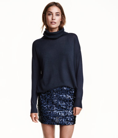 Skirt With Sequined Embroidery - length: mini; pattern: plain; fit: tailored/fitted; waist: mid/regular rise; predominant colour: navy; occasions: evening; style: mini skirt; fibres: polyester/polyamide - 100%; pattern type: fabric; texture group: jersey - stretchy/drapey; embellishment: sequins; season: a/w 2015; wardrobe: event; embellishment location: all over