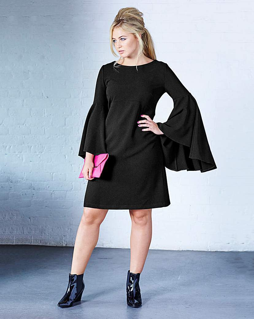 Swing Sleeve Dress - style: tunic; neckline: slash/boat neckline; sleeve style: dolman/batwing; pattern: plain; predominant colour: black; occasions: evening, occasion; length: just above the knee; fit: soft a-line; fibres: polyester/polyamide - stretch; sleeve length: long sleeve; pattern type: fabric; texture group: jersey - stretchy/drapey; season: a/w 2015