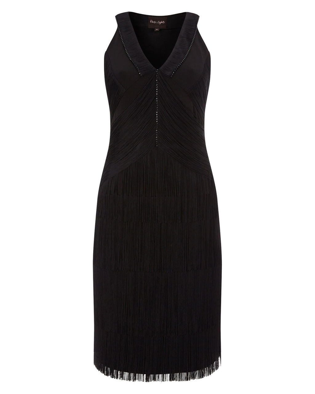 Ona Fringed Dress - style: shift; neckline: v-neck; pattern: plain; sleeve style: sleeveless; predominant colour: black; occasions: evening; length: on the knee; fit: body skimming; fibres: polyester/polyamide - 100%; sleeve length: sleeveless; pattern type: fabric; texture group: other - light to midweight; embellishment: fringing; season: a/w 2015; wardrobe: event; embellishment location: skirt