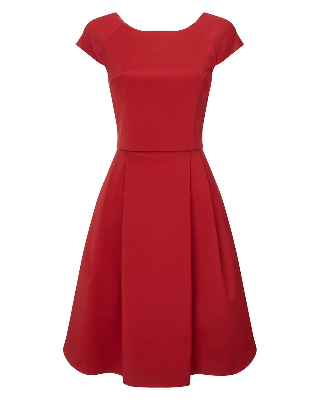 Bernice Dress - neckline: round neck; sleeve style: capped; pattern: plain; style: full skirt; back detail: back revealing; predominant colour: true red; occasions: evening; length: on the knee; fit: fitted at waist & bust; fibres: viscose/rayon - stretch; hip detail: adds bulk at the hips; sleeve length: short sleeve; pattern type: fabric; texture group: other - light to midweight; season: a/w 2015; wardrobe: event