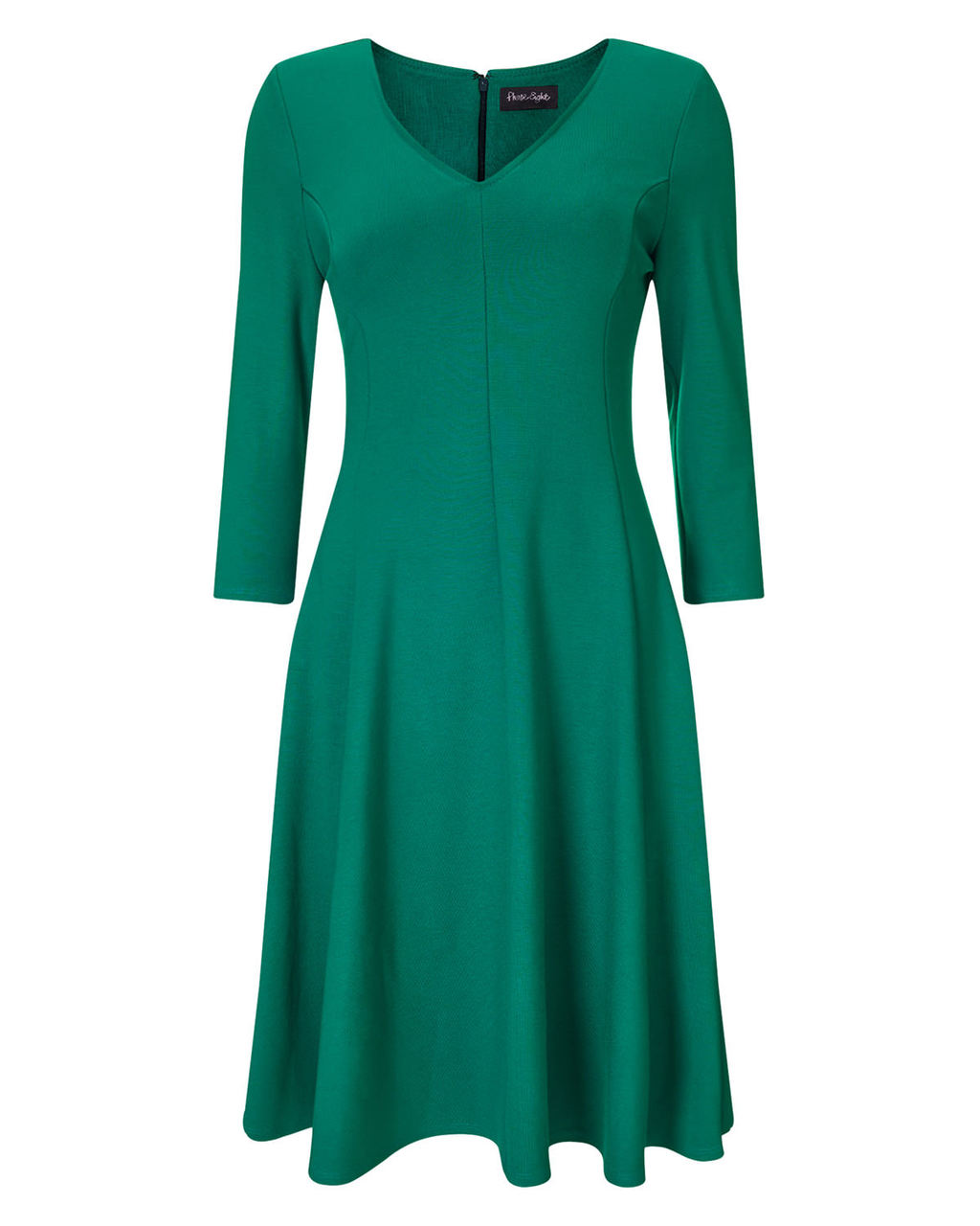 Sienna Skater Dress - neckline: v-neck; pattern: plain; predominant colour: emerald green; occasions: evening; length: on the knee; fit: fitted at waist & bust; style: fit & flare; fibres: viscose/rayon - stretch; sleeve length: 3/4 length; sleeve style: standard; pattern type: fabric; texture group: jersey - stretchy/drapey; season: a/w 2015; wardrobe: event