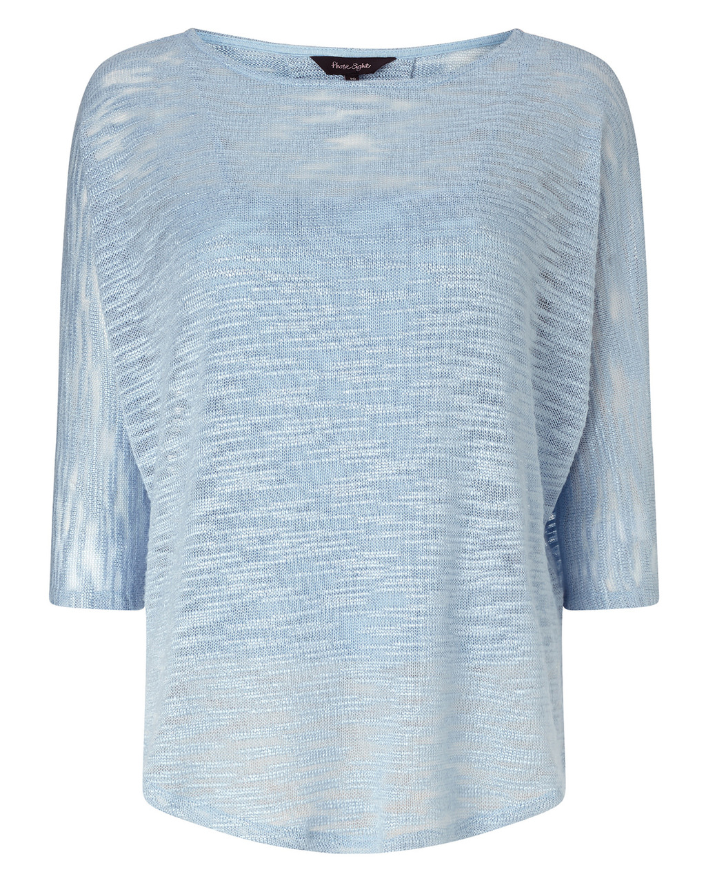 Saskia Slub Top - sleeve style: dolman/batwing; predominant colour: pale blue; occasions: casual; length: standard; style: top; fibres: cotton - 100%; fit: body skimming; neckline: crew; sleeve length: 3/4 length; pattern type: fabric; pattern size: light/subtle; pattern: patterned/print; texture group: jersey - stretchy/drapey; season: a/w 2015; wardrobe: highlight