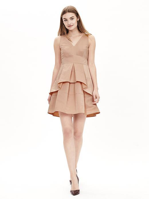 Taffeta Fit And Flare Dress Bellini - length: mid thigh; neckline: v-neck; pattern: plain; sleeve style: sleeveless; predominant colour: camel; occasions: evening, occasion; fit: fitted at waist & bust; style: fit & flare; fibres: polyester/polyamide - 100%; hip detail: adds bulk at the hips; sleeve length: sleeveless; texture group: structured shiny - satin/tafetta/silk etc.; pattern type: fabric; season: a/w 2015; wardrobe: event