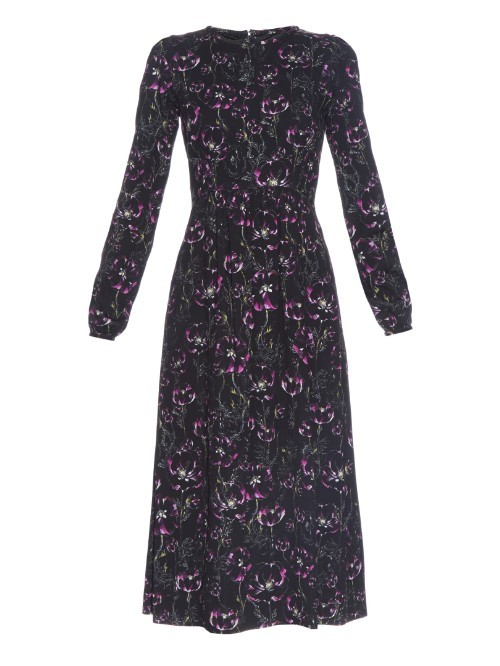 Bay Peony Flower Print Midi Dress - predominant colour: black; pattern type: fabric; pattern size: standard; pattern: patterned/print; occasions: creative work; season: a/w 2015; wardrobe: highlight