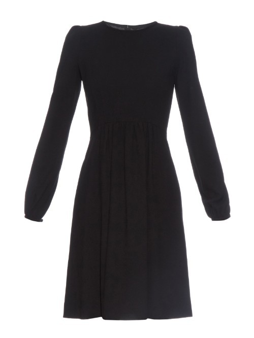 Baylee Wool Crepe Dress - pattern: plain; predominant colour: black; occasions: evening; length: just above the knee; fit: fitted at waist & bust; style: fit & flare; fibres: wool - 100%; neckline: crew; sleeve length: long sleeve; sleeve style: standard; pattern type: fabric; texture group: other - light to midweight; season: a/w 2015