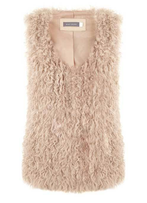 Camel Shearling Gilet - pattern: plain; sleeve style: sleeveless; style: gilet; collar: round collar/collarless; predominant colour: camel; occasions: casual, creative work; length: standard; fit: straight cut (boxy); sleeve length: sleeveless; collar break: low/open; texture group: sheepskin; season: a/w 2015