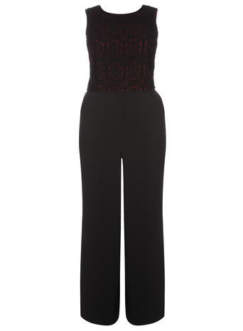 Womens **Dp Curve Black And Red Tie Back Jumpsuit Red - length: standard; neckline: round neck; fit: tailored/fitted; pattern: plain; sleeve style: sleeveless; secondary colour: burgundy; predominant colour: black; occasions: evening; sleeve length: sleeveless; style: jumpsuit; pattern type: fabric; texture group: woven light midweight; fibres: viscose/rayon - mix; embellishment: lace; season: a/w 2015