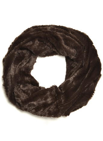 Womens Choc Crushed Faux Fur Snood Brown - predominant colour: chocolate brown; occasions: casual, evening, creative work; type of pattern: standard; style: snood; size: standard; material: fur; pattern: plain; embellishment: fur; season: a/w 2015