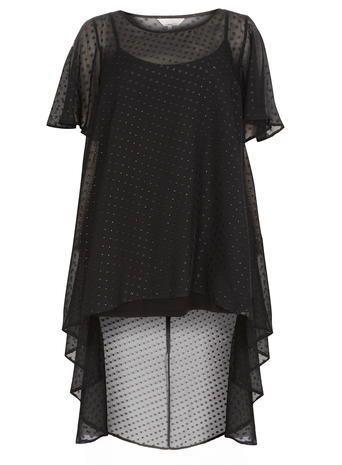 Womens **Billie & Blossom Curve Black Spot Dip Hem Top Black - neckline: round neck; sleeve style: angel/waterfall; pattern: polka dot; predominant colour: black; occasions: casual, evening; length: standard; style: top; fibres: polyester/polyamide - 100%; fit: loose; back detail: longer hem at back than at front; sleeve length: short sleeve; texture group: sheer fabrics/chiffon/organza etc.; pattern type: fabric; pattern size: standard; season: a/w 2015