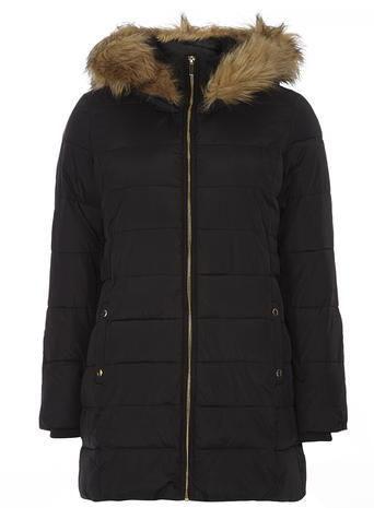 Womens **Tall Black Luxe Faux Fur Puffa Jacket Black - pattern: plain; collar: funnel; back detail: hood; length: mid thigh; predominant colour: black; occasions: casual; fit: straight cut (boxy); fibres: nylon - 100%; sleeve length: long sleeve; sleeve style: standard; collar break: high/illusion of break when open; pattern type: fabric; texture group: other - light to midweight; style: puffa; embellishment: fur; season: a/w 2015