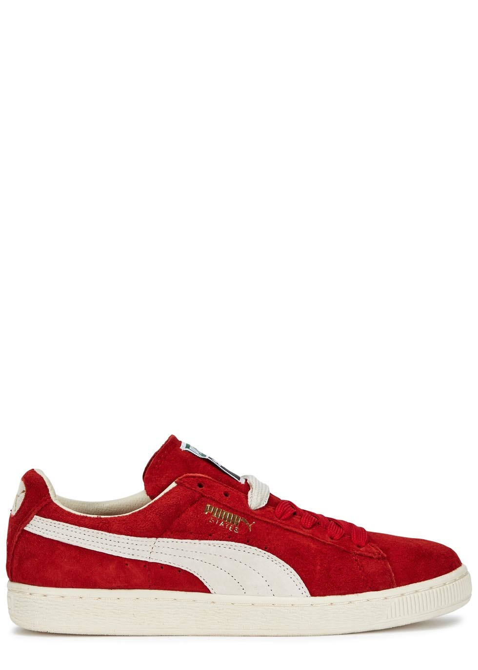 Red Suede Trainers - secondary colour: white; predominant colour: true red; occasions: casual, activity; material: suede; heel height: flat; toe: round toe; style: trainers; finish: plain; pattern: colourblock; shoe detail: moulded soul; season: a/w 2015