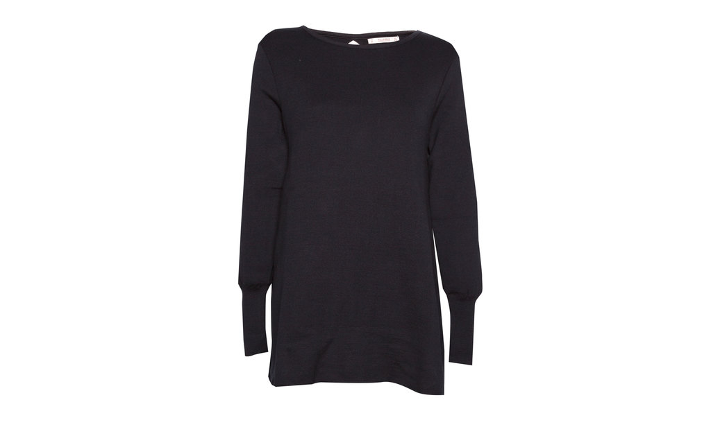 Sweater - neckline: round neck; pattern: plain; length: below the bottom; style: standard; predominant colour: navy; sleeve length: long sleeve; sleeve style: standard; pattern type: fabric; occasions: creative work; season: a/w 2015; wardrobe: highlight