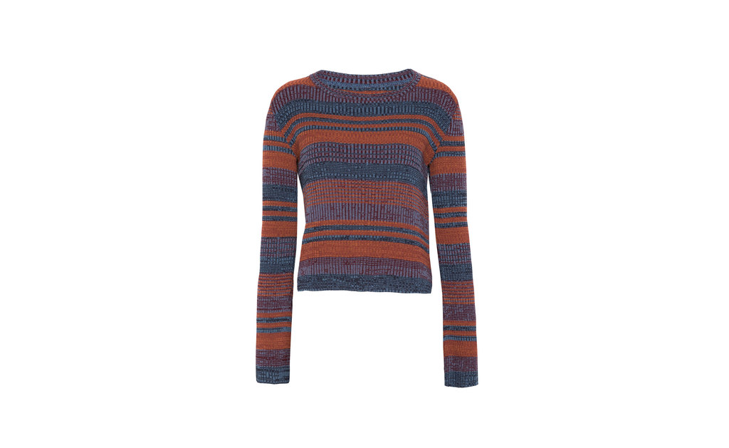 Sweater - neckline: round neck; pattern: horizontal stripes; style: standard; secondary colour: denim; predominant colour: bright orange; occasions: casual; length: standard; fit: standard fit; sleeve length: long sleeve; sleeve style: standard; texture group: knits/crochet; pattern type: fabric; multicoloured: multicoloured; season: a/w 2015; wardrobe: highlight
