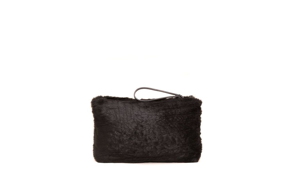 Faux Fur Clutch - predominant colour: black; occasions: evening; type of pattern: standard; style: grab bag; length: hand carry; size: standard; material: faux fur; pattern: plain; finish: plain; season: a/w 2015; wardrobe: event
