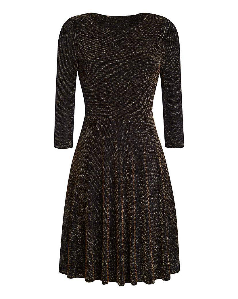 Glitter Skater Dress - neckline: round neck; pattern: plain; secondary colour: gold; predominant colour: black; occasions: evening; length: just above the knee; fit: fitted at waist & bust; style: fit & flare; fibres: polyester/polyamide - stretch; sleeve length: 3/4 length; sleeve style: standard; pattern type: fabric; texture group: jersey - stretchy/drapey; embellishment: glitter; season: a/w 2015; wardrobe: event; embellishment location: all over
