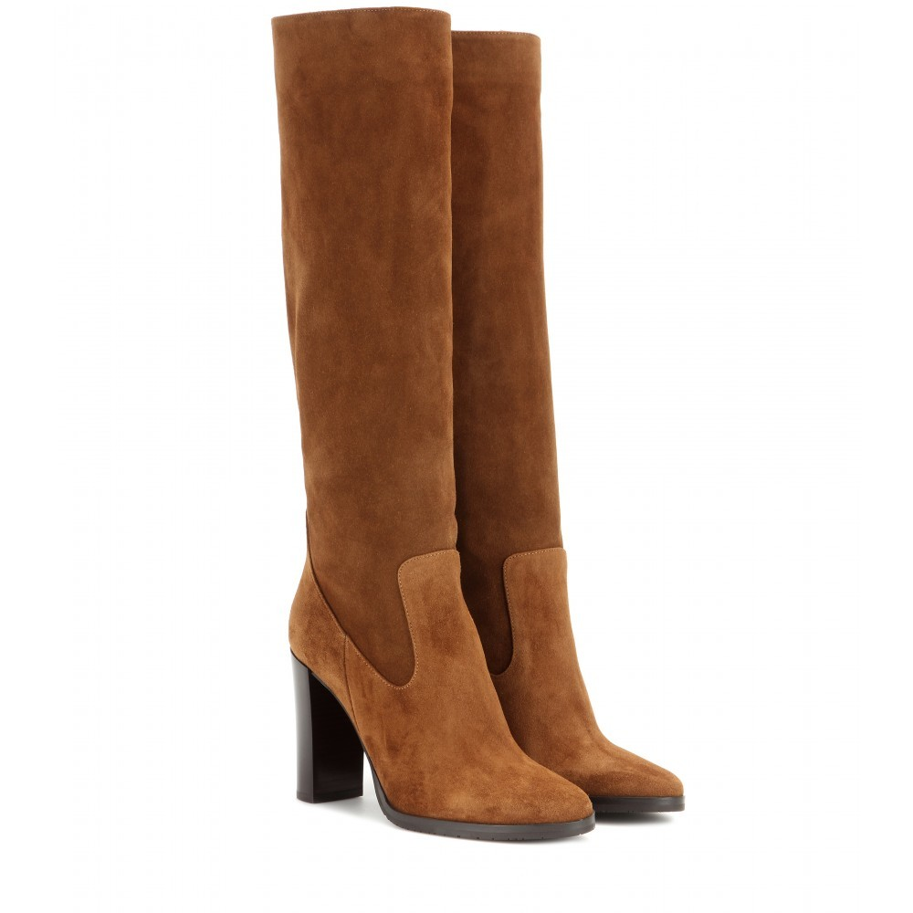 Honor 95 Suede Knee High Boots - predominant colour: chocolate brown; occasions: casual, creative work; material: suede; heel height: high; heel: block; toe: round toe; boot length: knee; style: standard; finish: plain; pattern: plain; shoe detail: platform; season: a/w 2015; wardrobe: investment