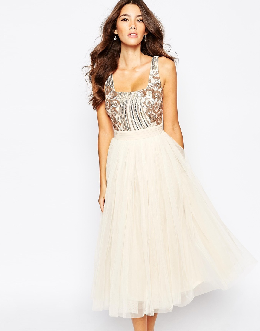 Sequin Midi Dress With Tulle Skirt Cream - length: calf length; pattern: plain; sleeve style: sleeveless; style: prom dress; predominant colour: ivory/cream; secondary colour: silver; occasions: evening; fit: fitted at waist & bust; neckline: scoop; fibres: polyester/polyamide - 100%; sleeve length: sleeveless; texture group: sheer fabrics/chiffon/organza etc.; pattern type: fabric; embellishment: sequins; multicoloured: multicoloured; season: a/w 2015; wardrobe: event; embellishment location: top