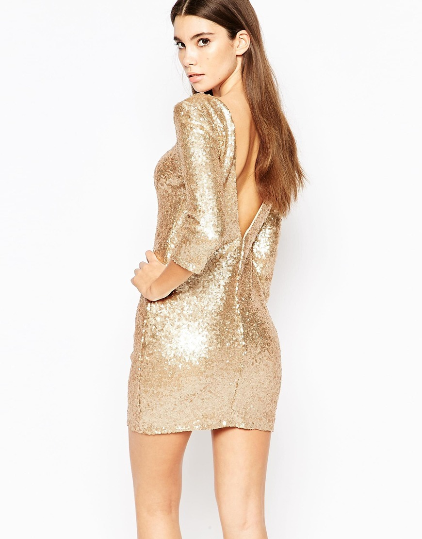 Allover Sequin Mini Dress With Deep Back And 3/4 Sleeve Gold - length: mini; neckline: round neck; fit: tight; pattern: plain; style: bodycon; predominant colour: gold; occasions: evening; fibres: polyester/polyamide - stretch; sleeve length: 3/4 length; sleeve style: standard; texture group: jersey - clingy; pattern type: fabric; embellishment: sequins; season: a/w 2015