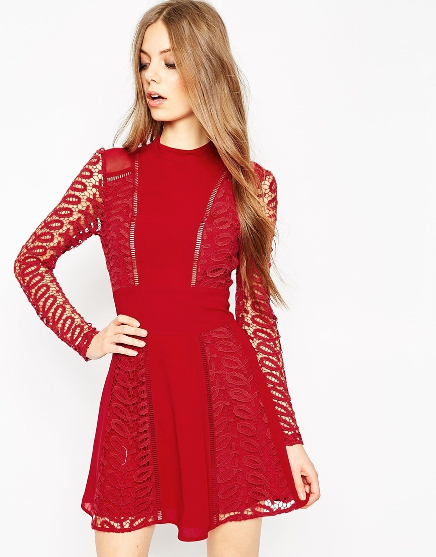 Premium Lace And Ladder Detail Dress Red - style: shift; length: mini; neckline: high neck; back detail: back revealing; predominant colour: true red; occasions: evening; fit: soft a-line; fibres: polyester/polyamide - 100%; hip detail: subtle/flattering hip detail; sleeve length: long sleeve; sleeve style: standard; pattern type: fabric; pattern size: standard; pattern: patterned/print; texture group: woven light midweight; embellishment: lace; season: a/w 2015; wardrobe: event; embellishment location: bust, skirt, sleeve/cuff