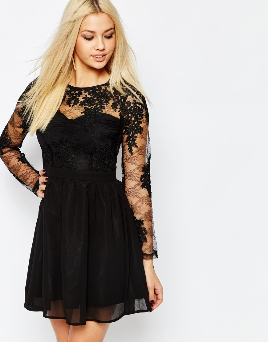 Lace Sleeve Prom Dress Black - neckline: round neck; pattern: plain; style: prom dress; predominant colour: black; occasions: evening, occasion; length: just above the knee; fit: fitted at waist & bust; hip detail: soft pleats at hip/draping at hip/flared at hip; sleeve length: long sleeve; sleeve style: standard; texture group: sheer fabrics/chiffon/organza etc.; pattern type: fabric; embellishment: lace; season: a/w 2015; wardrobe: event