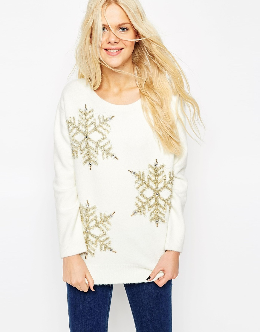 Christmas Jumper With Embellished Snowflake Cream - neckline: round neck; pattern: plain; style: standard; predominant colour: ivory/cream; secondary colour: gold; occasions: casual, creative work; length: standard; fit: standard fit; sleeve length: long sleeve; sleeve style: standard; texture group: knits/crochet; pattern type: knitted - fine stitch; embellishment: sequins; trends: christmas jumpers; season: a/w 2015; wardrobe: highlight