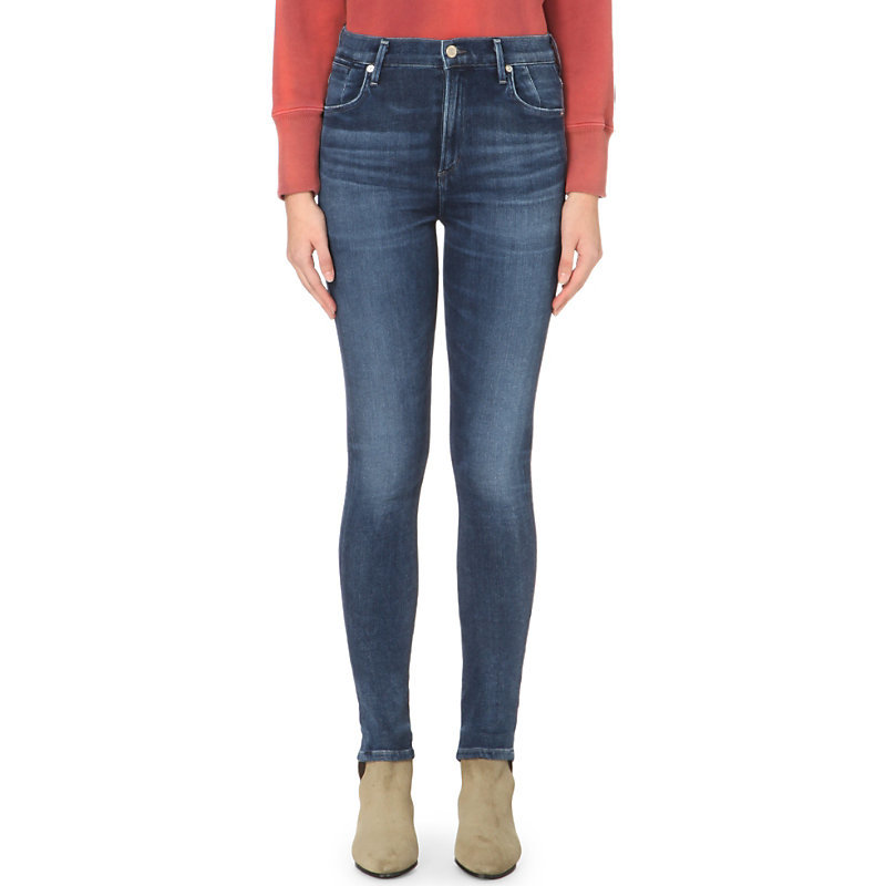 Carlie Skinny High Rise Jeans, Women's, Spritz - style: skinny leg; length: standard; pattern: plain; waist: high rise; pocket detail: traditional 5 pocket; predominant colour: navy; occasions: casual; fibres: cotton - stretch; jeans detail: whiskering, shading down centre of thigh, dark wash; texture group: denim; pattern type: fabric; season: a/w 2015; wardrobe: basic