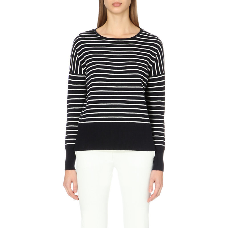 Striped Cotton Blend Jumper, Women's, Blue Stripe - pattern: horizontal stripes; style: standard; secondary colour: white; predominant colour: navy; occasions: casual; length: standard; fibres: cotton - mix; fit: slim fit; neckline: crew; sleeve length: long sleeve; sleeve style: standard; texture group: knits/crochet; pattern type: fabric; multicoloured: multicoloured; season: a/w 2015; wardrobe: highlight