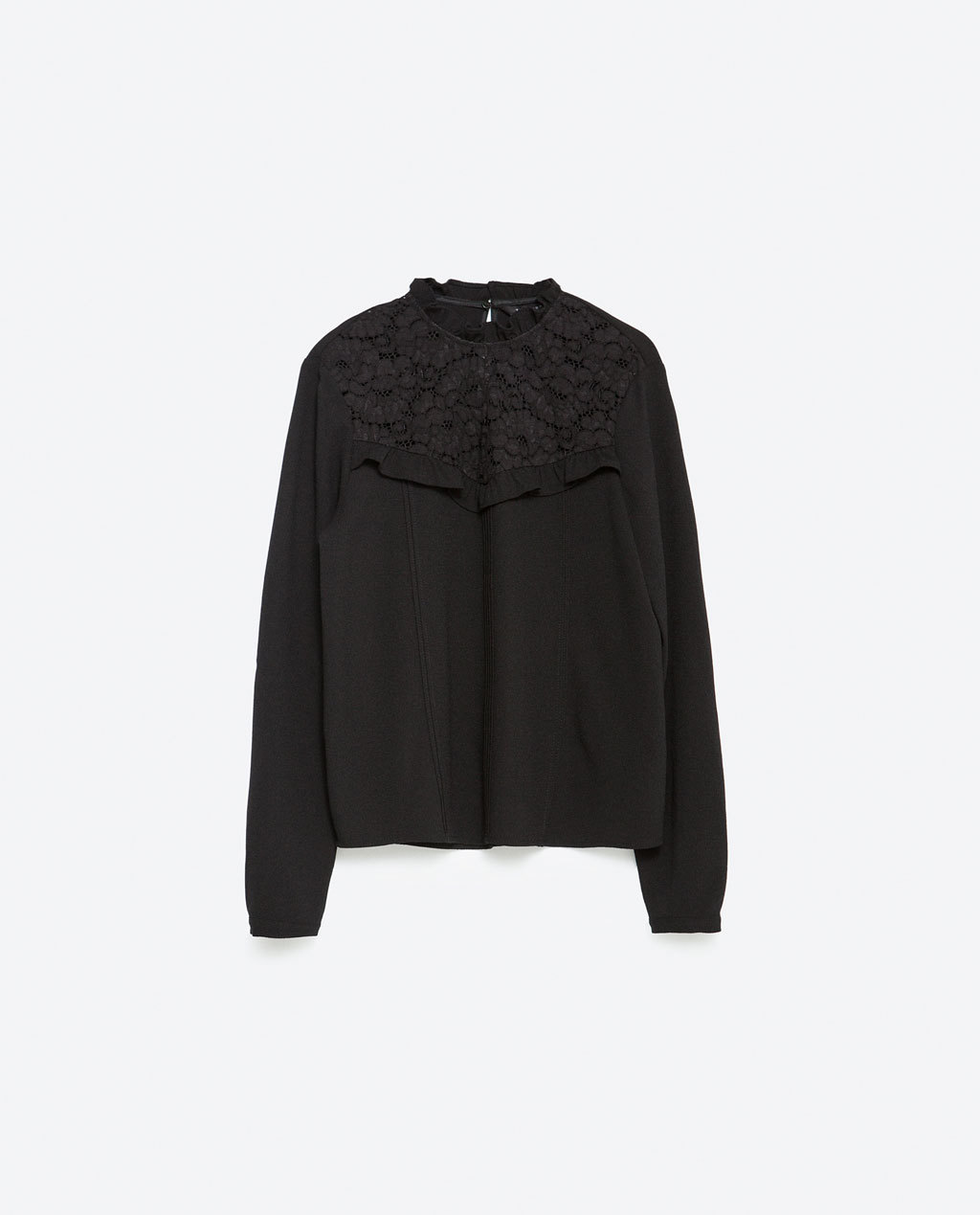 Frill Neckline Blouse - pattern: plain; style: blouse; predominant colour: black; occasions: casual, work, occasion; length: standard; fibres: polyester/polyamide - 100%; fit: loose; neckline: crew; sleeve length: long sleeve; sleeve style: standard; texture group: sheer fabrics/chiffon/organza etc.; pattern type: fabric; embellishment: lace; season: a/w 2015; wardrobe: highlight