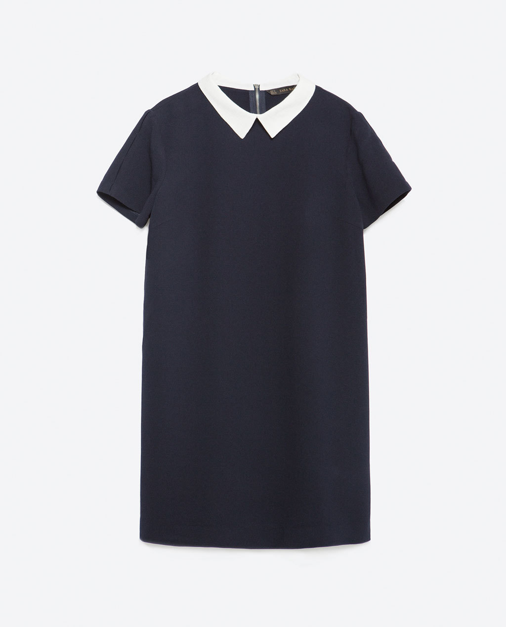 Dress With Contrasting Collar - style: shift; length: mid thigh; pattern: plain; predominant colour: navy; occasions: casual, work; fit: straight cut; fibres: polyester/polyamide - 100%; neckline: no opening/shirt collar/peter pan; sleeve length: short sleeve; sleeve style: standard; pattern type: fabric; texture group: other - light to midweight; season: a/w 2015; wardrobe: basic