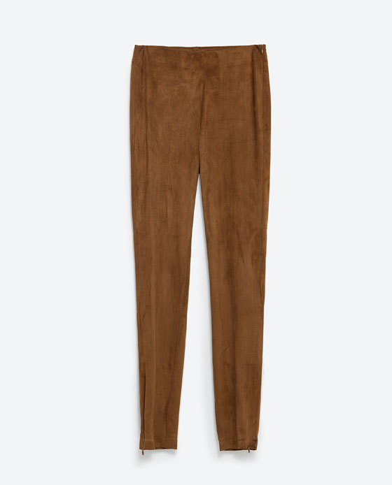 Faux Suede Leggings - length: standard; pattern: plain; style: leggings; waist: mid/regular rise; predominant colour: camel; occasions: casual, evening; fibres: polyester/polyamide - stretch; fit: skinny/tight leg; pattern type: fabric; texture group: suede; season: a/w 2015; wardrobe: highlight