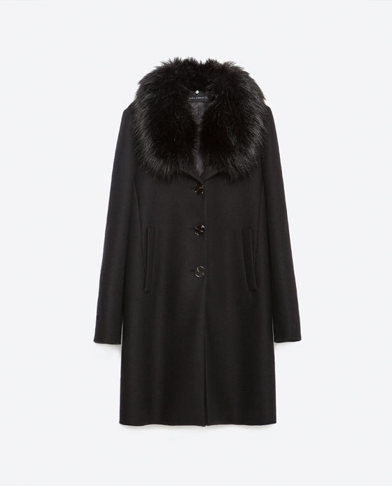 Coat With Faux Fur Collar - pattern: plain; style: single breasted; length: mid thigh; predominant colour: black; occasions: casual, evening, work; fit: straight cut (boxy); fibres: wool - mix; sleeve length: long sleeve; sleeve style: standard; collar: fur; collar break: high; pattern type: fabric; texture group: woven bulky/heavy; season: a/w 2015; wardrobe: basic