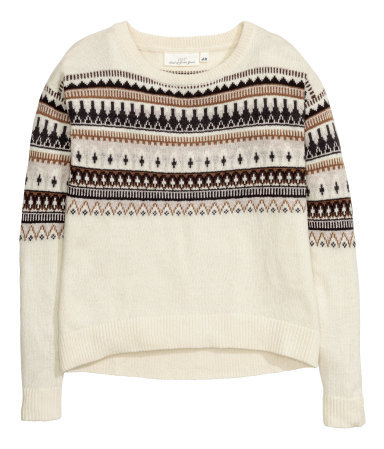 Jacquard Knit Jumper - style: standard; secondary colour: ivory/cream; predominant colour: charcoal; occasions: casual; length: standard; fibres: cotton - mix; fit: standard fit; neckline: crew; sleeve length: long sleeve; sleeve style: standard; texture group: knits/crochet; pattern type: knitted - other; pattern size: standard; pattern: patterned/print; season: a/w 2015; wardrobe: highlight