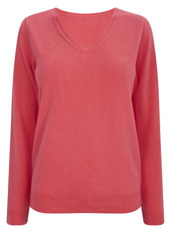 Womens Pink Long Sleeve Supersoft V Neck Jumper, Pink - neckline: v-neck; pattern: plain; style: standard; predominant colour: pink; occasions: casual; length: standard; fibres: acrylic - 100%; fit: standard fit; sleeve length: long sleeve; sleeve style: standard; texture group: knits/crochet; pattern type: knitted - fine stitch; season: a/w 2015; wardrobe: highlight