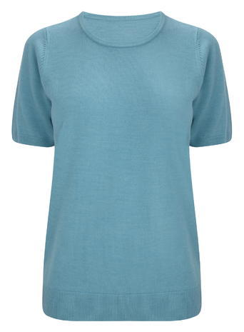 Womens Turquoise Supersoft Short Sleeve Crew Neck Jumper, Turquoise - neckline: round neck; pattern: plain; style: standard; predominant colour: turquoise; occasions: casual; length: standard; fibres: acrylic - 100%; fit: slim fit; sleeve length: short sleeve; sleeve style: standard; pattern type: fabric; season: a/w 2015; wardrobe: highlight