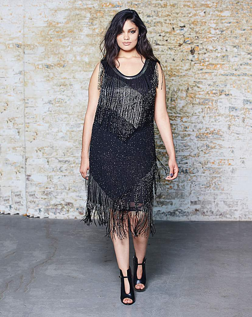 Beaded Fringed Shift Dress - style: shift; neckline: round neck; pattern: plain; sleeve style: sleeveless; predominant colour: black; occasions: evening, occasion; length: on the knee; fit: soft a-line; fibres: polyester/polyamide - 100%; sleeve length: sleeveless; texture group: crepes; pattern type: fabric; embellishment: fringing; season: a/w 2015; wardrobe: event; embellishment location: all over