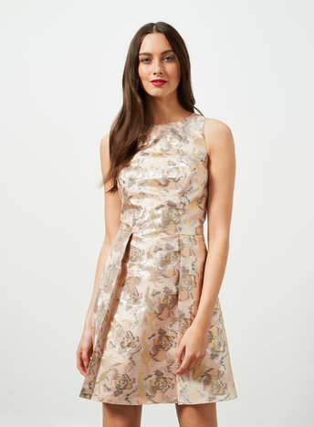 Womens Lurex Jacquard Skater Dress, Pink - sleeve style: sleeveless; predominant colour: blush; secondary colour: gold; occasions: evening, occasion; length: just above the knee; fit: fitted at waist & bust; style: fit & flare; fibres: polyester/polyamide - mix; neckline: crew; sleeve length: sleeveless; pattern type: fabric; pattern size: standard; pattern: patterned/print; texture group: brocade/jacquard; multicoloured: multicoloured; season: a/w 2015