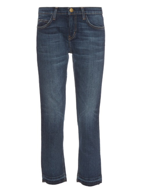 Loved Mid Rise Straight Leg Cropped Jeans - style: skinny leg; pattern: plain; pocket detail: traditional 5 pocket; waist: mid/regular rise; predominant colour: denim; occasions: casual; length: calf length; fibres: cotton - stretch; jeans detail: whiskering, shading down centre of thigh; texture group: denim; pattern type: fabric; season: a/w 2015; wardrobe: basic