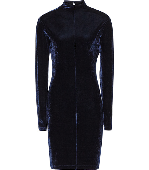 Greysie Velvet Dress - length: mid thigh; fit: tight; pattern: plain; neckline: high neck; style: bodycon; predominant colour: navy; occasions: evening; sleeve length: long sleeve; sleeve style: standard; pattern type: fabric; texture group: velvet/fabrics with pile; season: a/w 2015; wardrobe: event