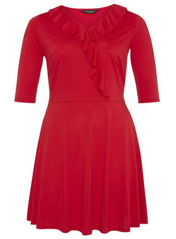 Womens **Dp Curve Red Frill Front Wrap Dress Red - style: faux wrap/wrap; length: mini; neckline: v-neck; pattern: plain; predominant colour: true red; occasions: evening; fit: fitted at waist & bust; fibres: polyester/polyamide - stretch; hip detail: soft pleats at hip/draping at hip/flared at hip; sleeve length: half sleeve; sleeve style: standard; bust detail: tiers/frills/bulky drapes/pleats; pattern type: fabric; texture group: jersey - stretchy/drapey; season: a/w 2015