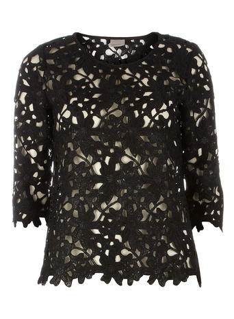 Womens **Vero Moda Black Lace 3/4 Sleeve Blouse Black - predominant colour: black; season: a/w 2015; wardrobe: highlight