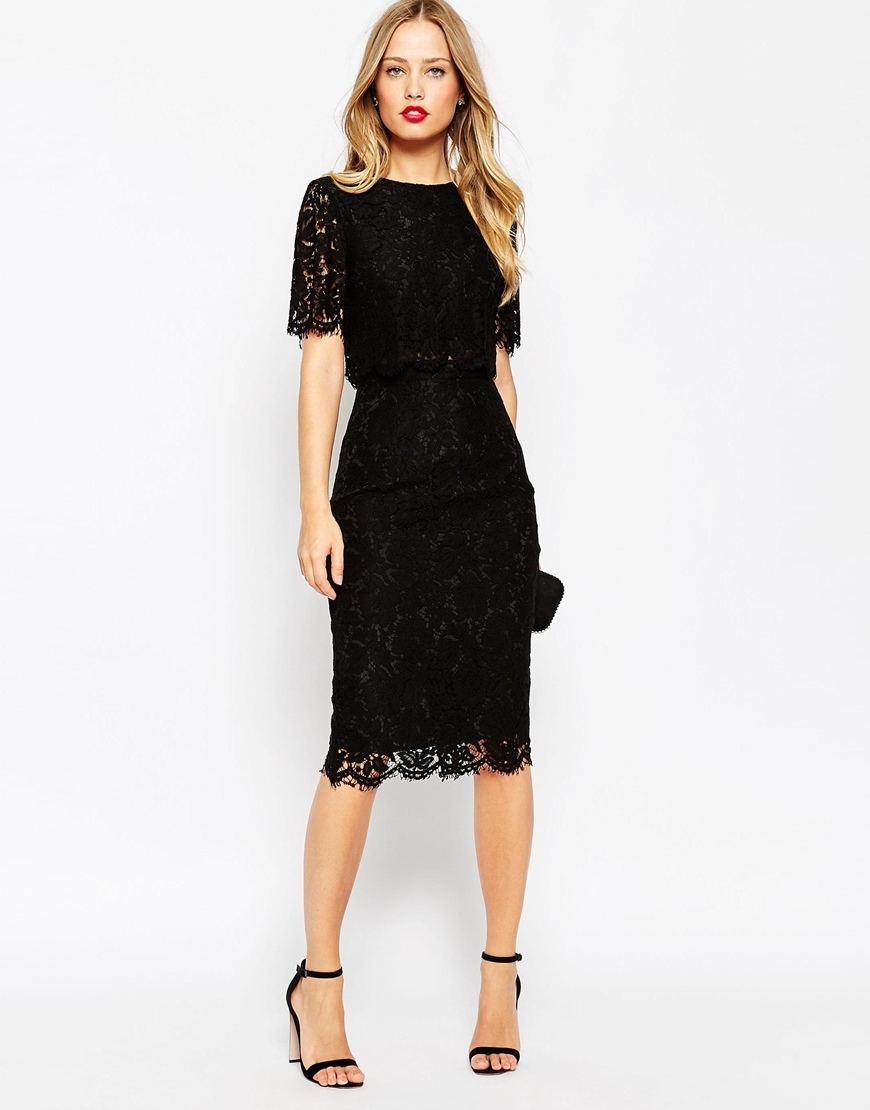 Lace Crop Top Midi Pencil Dress Navy - style: shift; length: below the knee; fit: tailored/fitted; predominant colour: black; fibres: cotton - mix; occasions: occasion; neckline: crew; sleeve length: short sleeve; sleeve style: standard; texture group: lace; pattern type: fabric; pattern: patterned/print; season: a/w 2015; wardrobe: event