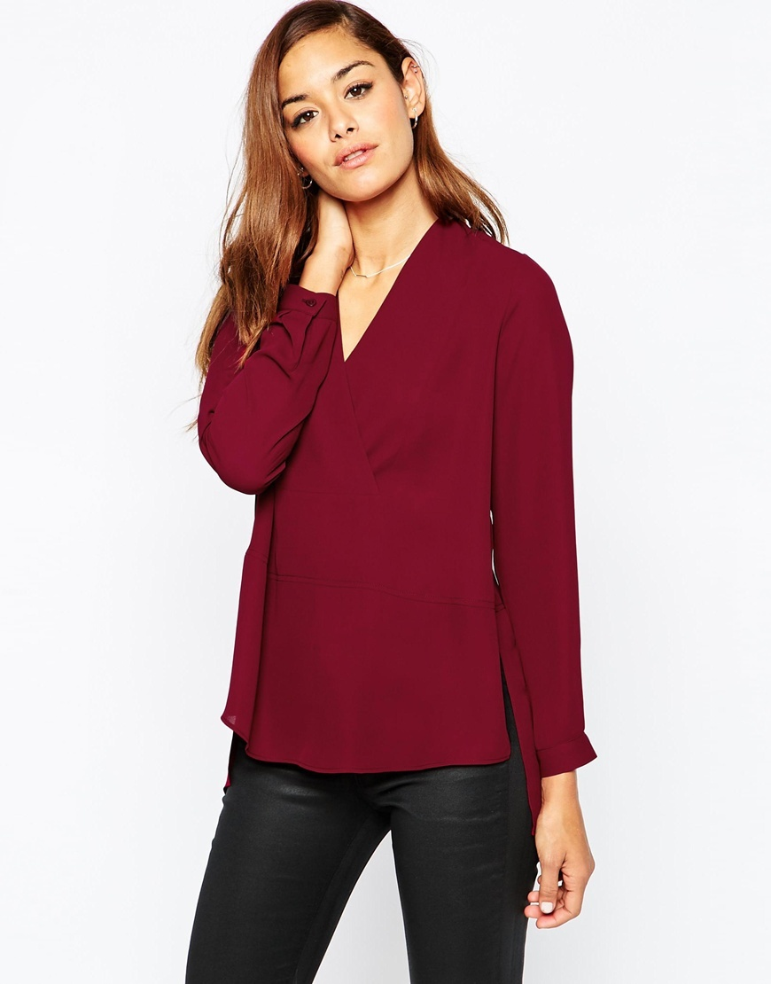 Long Sleeve Deep V Wrap Front Blouse Oxblood - neckline: low v-neck; pattern: plain; style: blouse; predominant colour: burgundy; occasions: casual, work, creative work; length: standard; fibres: polyester/polyamide - 100%; fit: straight cut; sleeve length: long sleeve; sleeve style: standard; texture group: crepes; pattern type: fabric; season: a/w 2015