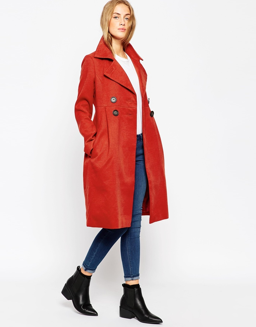 Coat In 60s Midi Tulip Red - style: double breasted; length: on the knee; collar: standard lapel/rever collar; predominant colour: true red; fit: tailored/fitted; sleeve length: long sleeve; sleeve style: standard; collar break: medium; texture group: woven bulky/heavy; occasions: creative work; season: a/w 2015; wardrobe: highlight