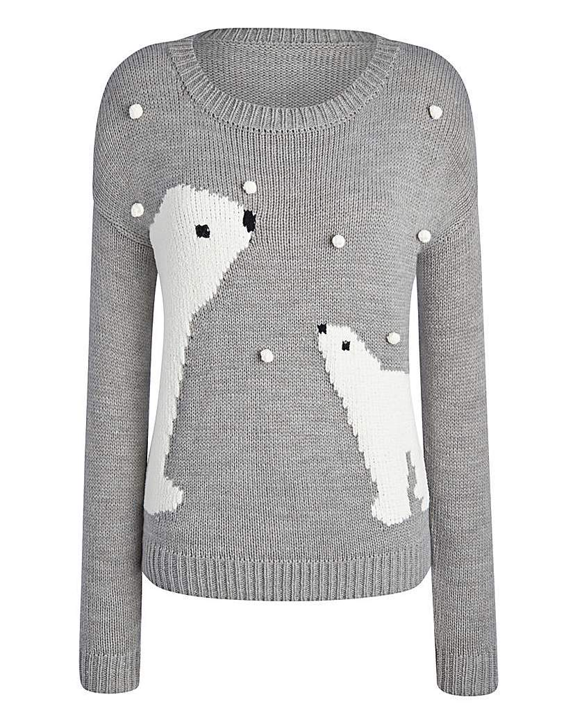 Christmas Bears Snowball Jumper - neckline: round neck; style: standard; secondary colour: white; predominant colour: mid grey; occasions: casual; length: standard; fibres: cotton - mix; fit: standard fit; sleeve length: long sleeve; sleeve style: standard; texture group: knits/crochet; pattern type: knitted - other; pattern size: standard; pattern: patterned/print; trends: christmas jumpers; season: a/w 2015