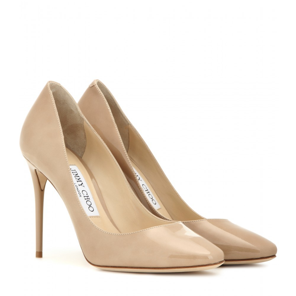 Esme 100 Patent Leather Pumps - predominant colour: nude; occasions: evening; material: leather; heel height: high; heel: stiletto; toe: pointed toe; style: courts; finish: patent; pattern: plain; season: a/w 2015; wardrobe: event