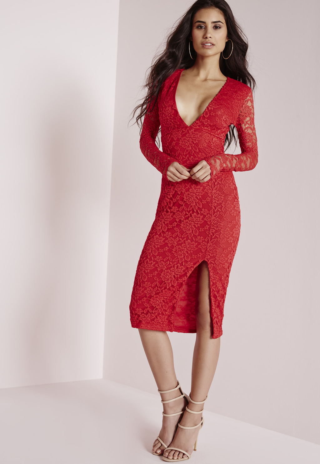 Lace Long Sleeve Side Split Midi Dress Red, Red - style: shift; length: below the knee; neckline: plunge; fit: tight; predominant colour: true red; occasions: evening; fibres: polyester/polyamide - stretch; sleeve length: long sleeve; sleeve style: standard; texture group: lace; pattern type: fabric; pattern: patterned/print; season: a/w 2015