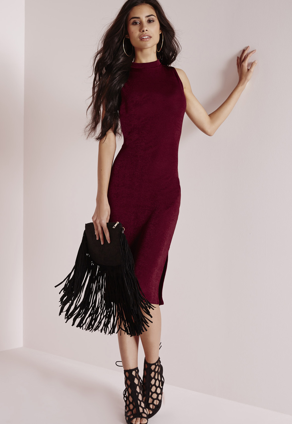 High Neck Knitted Midi Dress Burgundy, Burgundy - style: shift; length: below the knee; fit: tight; pattern: plain; sleeve style: sleeveless; neckline: high neck; predominant colour: burgundy; occasions: evening; fibres: polyester/polyamide - stretch; sleeve length: sleeveless; pattern type: knitted - fine stitch; texture group: jersey - stretchy/drapey; season: a/w 2015; wardrobe: event