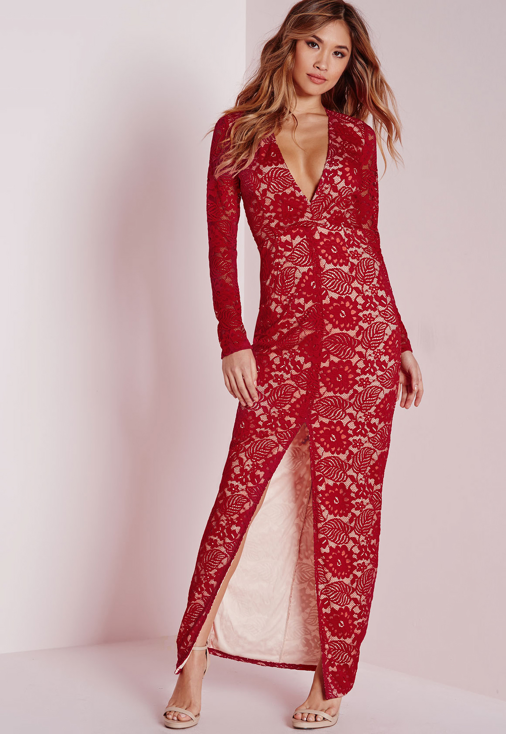 Lace Long Sleeve Maxi Dress Red, Red - neckline: plunge; pattern: plain; style: maxi dress; length: ankle length; predominant colour: true red; fit: body skimming; fibres: polyester/polyamide - stretch; occasions: occasion; sleeve length: long sleeve; sleeve style: standard; texture group: lace; season: a/w 2015; wardrobe: event