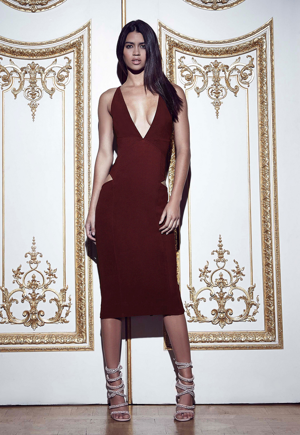 Plunge Cut Out Midi Dress Burgundy, Burgundy - predominant colour: burgundy; occasions: evening, occasion; season: a/w 2015; wardrobe: event