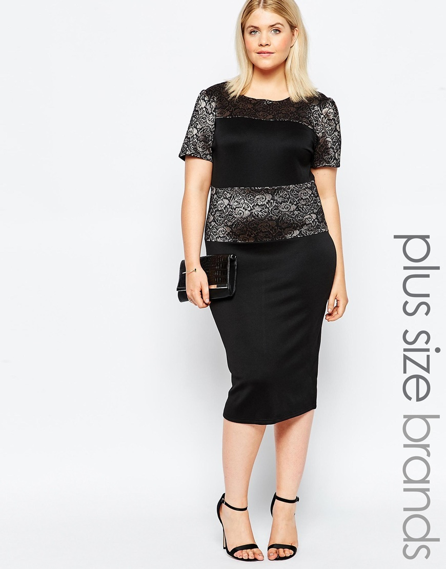 Plus Size Midi Dress With Metallic Lace Panel Black - style: shift; length: below the knee; neckline: round neck; fit: tailored/fitted; waist detail: embellishment at waist/feature waistband; shoulder detail: contrast pattern/fabric at shoulder; secondary colour: silver; predominant colour: black; occasions: evening, occasion; fibres: polyester/polyamide - 100%; sleeve length: short sleeve; sleeve style: standard; texture group: structured shiny - satin/tafetta/silk etc.; pattern type: fabric; pattern: colourblock; embellishment: lace; season: a/w 2015; trends: romantic goth; wardrobe: event